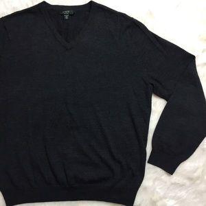 J. Crew Italian Merino Wool Gray V-Neck Sweater, L